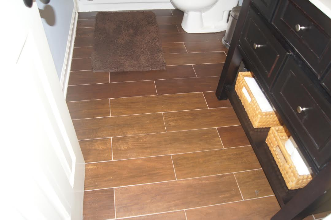Tile Flooring That Looks Like Wood In Bathroom